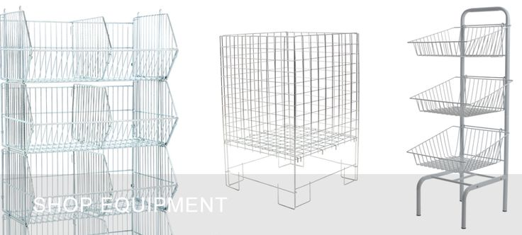 dump bins and wire stacking baskets
