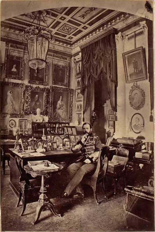 Tsar Alexander II of Russia in his study