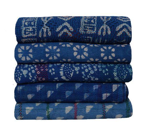 Vintage Indigo Kantha Quilts   100 % Baumwolle Sari & natürliche Farbstoff Indigo die 30 bis 50 Jahre alt und gesammelt in Rajasthan Dorf Bikaner in Indien und Pakistan
