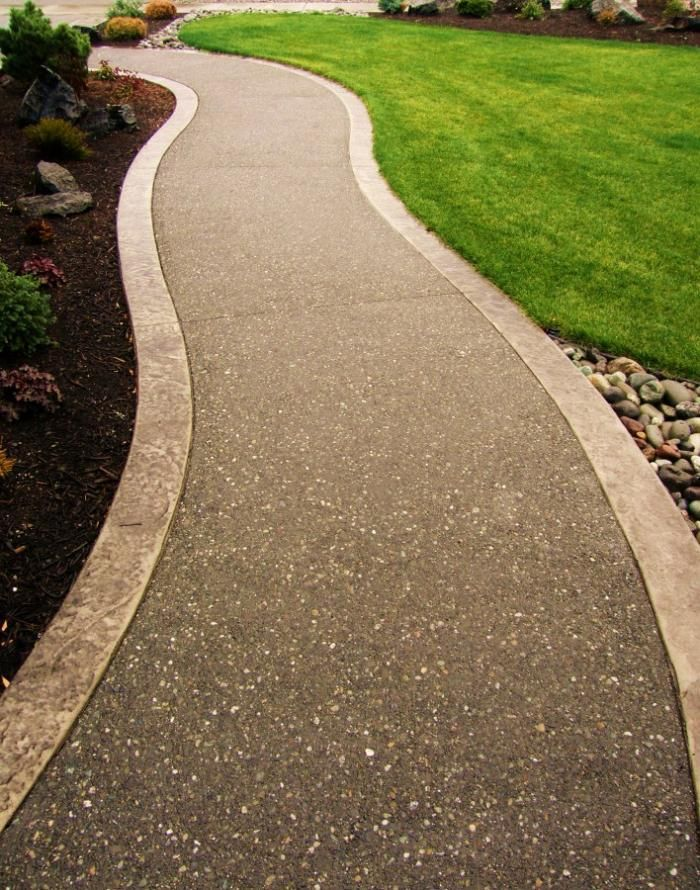 Aggregate Concrete With Concrete Expansion | Exposed Aggregate Walkway With  Stamped Ribbons