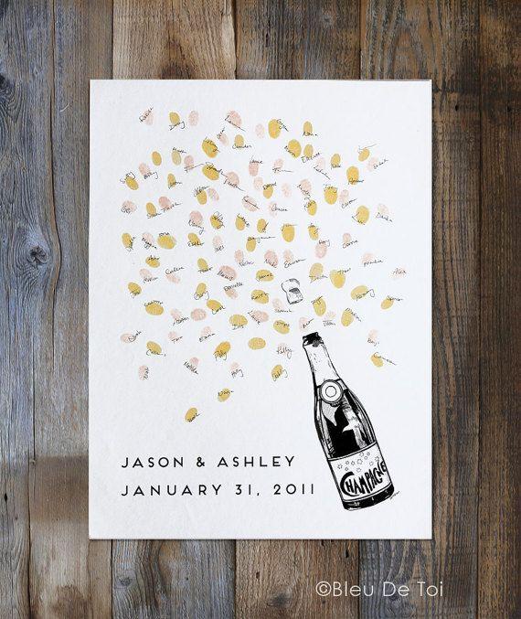 Lassen Sie einen Eindruck von einem unvergesslichen Tag eine einzigartige Möglichkeit, Ihre Gäste aufnehmen! Inspiriert von unserem Gast Buch Fingerabdruck Bäume und Luftballons, ist dieses Sektflasche-Design, spielerisch und macht Spaß. Ideal für Familienfeiern oder Partys und vor allem Hochzeiten! Interaktiv, kreativ und ein schönes Andenken für Sie jahrelang haben zu kommen! Einige feste fordern, dass zusätzliche Spritzer Stil. Feiern Sie mit Sekt! Die Gast-Flasche Champagner-Zeichnung…