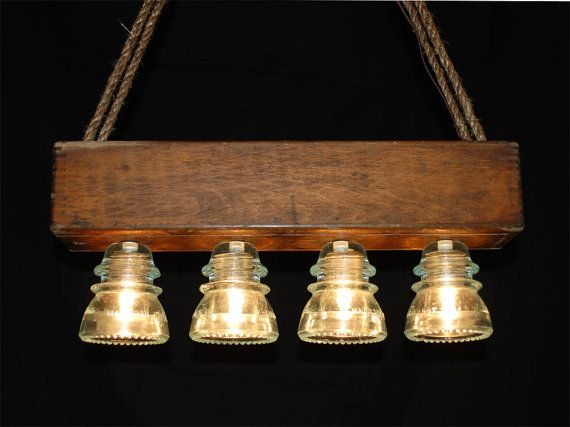 Vintage Glass Insulator Chandelier by VintageMarc on Etsy, $250.00