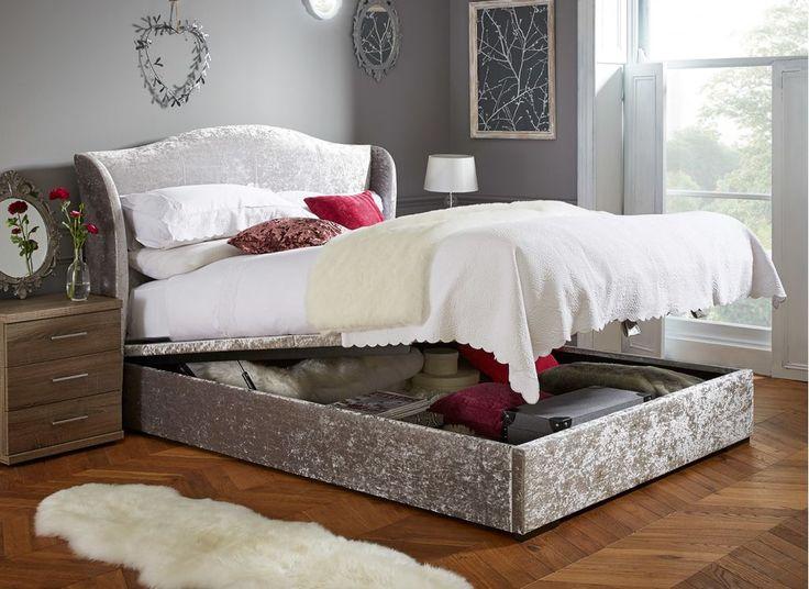 NEW! Showan Silver Crushed Velvet Ottoman Bed Frame
