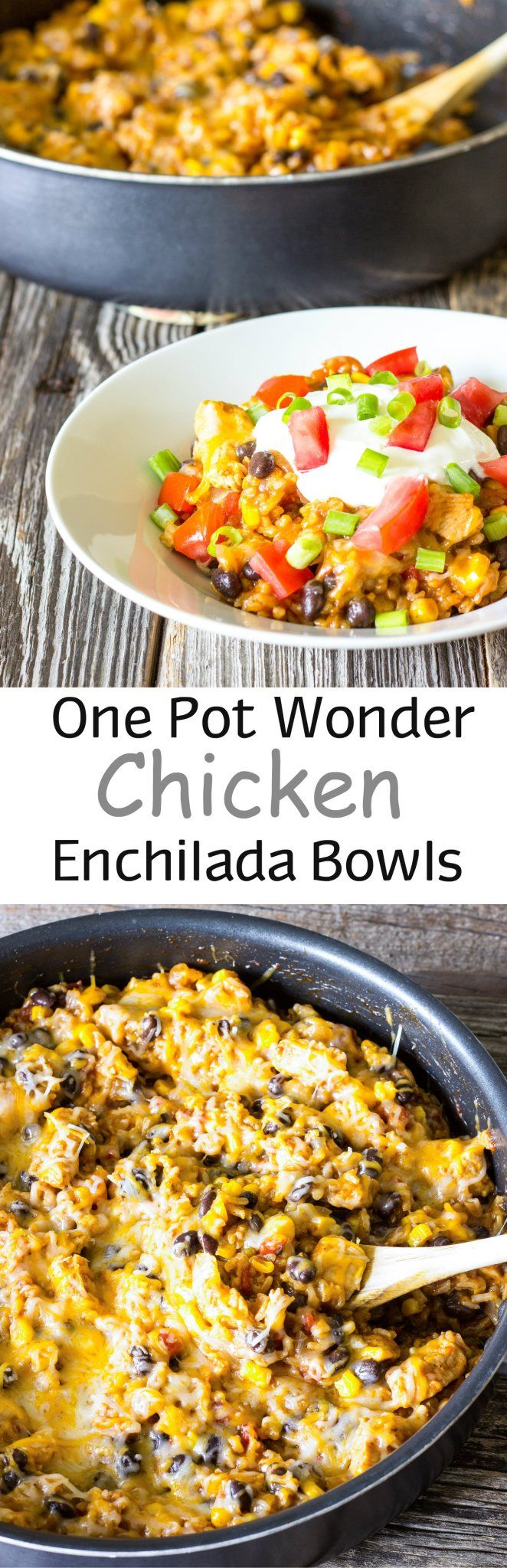 The flavors of cheesy chicken enchiladas with a lot less work and it all comes together in one pot!