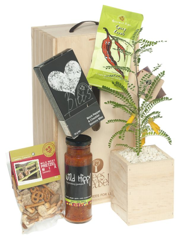 Perfect gift idea for Dad. Nibbles, Dip and BBQ sauce, great for entertaining with baby tree that will go on giving year after year.