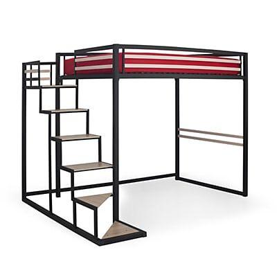 Lit mezzanine 2 places noir avec sommier (140x200cm)