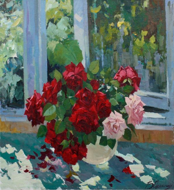 "Dovbenko Victor,  ""Bouquet of Roses"", canvas, oil, 55x60 cm, 2012 http://www.art-helicon.ru/eng/asp/artist/art44.asp"