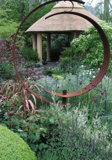 Circular Corten steel sculpture