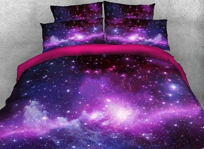 3D Galaxy Cluster Printed Cotton Luxury 4-Piece Purple Bedding Sets/Duvet Covers