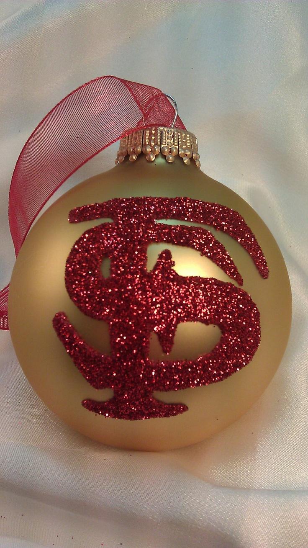Florida State Seminoles Glass Ball Ornament - Garnet and Gold College School Pride. $11.00, via Etsy.