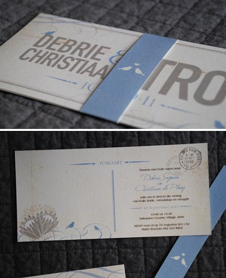 Vintage postcard wedding invitations with the cutest blue belly bands.