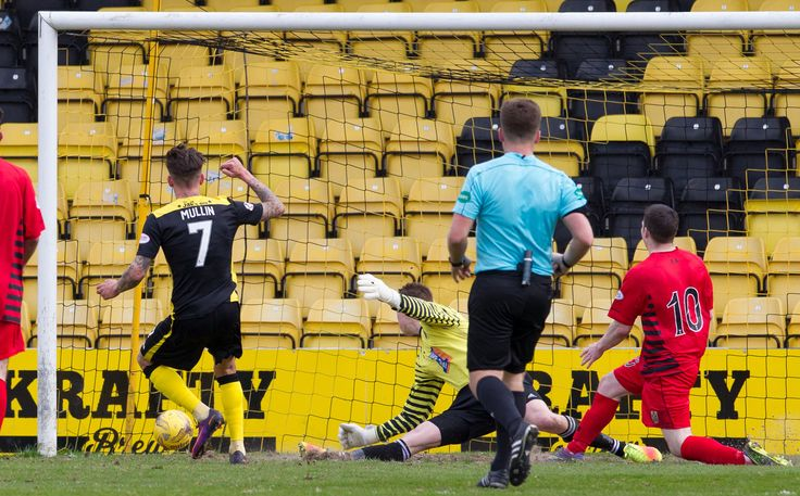 Livingston's Josh Mullen scores during the Ladbrokes League One game between Livingston and Queen's Park.