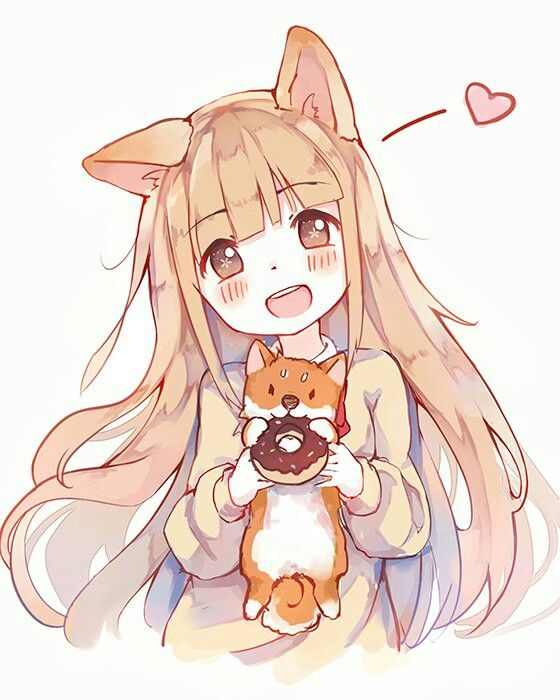 Kawaii loli girl with dog and donuts♡