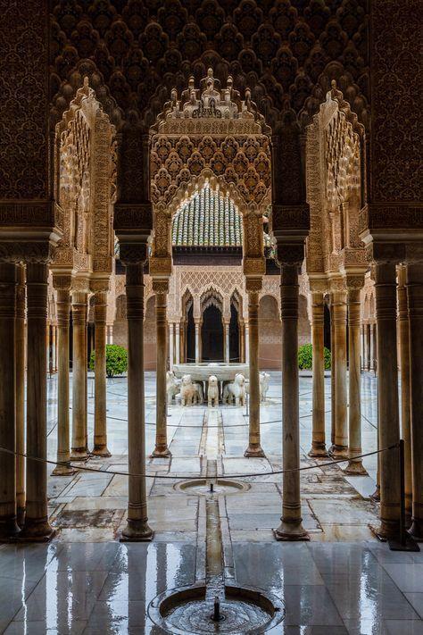 Spain Andalucia Granada La Alhambra Patio De Los Leones Por
