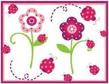 LADYBUG FLOWER GARDEN PINK GREEN BABY GIRL NURSERY WALL BORDER STICKERS DECALS