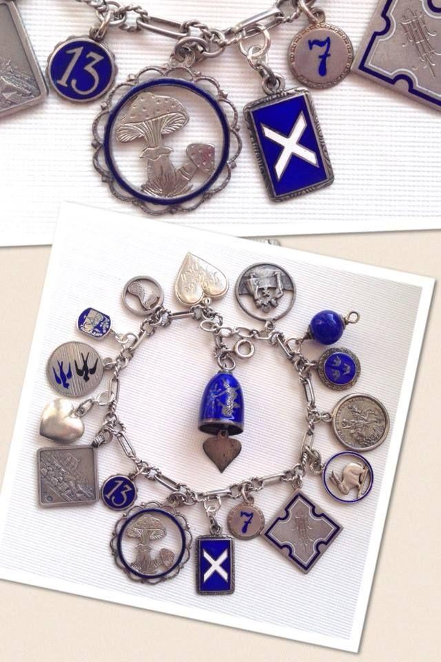eCharmony Charm Bracelet Collection - Antique Blue Enamel Charms