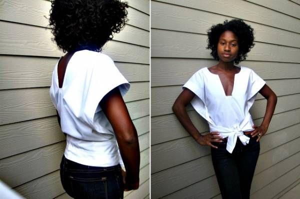 J'ai trouvé cette photo et le schéma associé sur un forum russe et j'avoue que je n'ai pas retrouvé la source. Quoiqu'il en soit, ce top est plutôt facile à couper et à coudre. C'est un peu le pendant de la jupe cercle puisqu'il s'agit d'un demi-cercle de tissu avec un col et une large ceinture. Cette blouse peut également se porter sans ceinture. Pour réaliser cette blouse, vous aurez besoin de 2 hauteurs (soir 1,6 mètres environ) de tissu (choisissez un tissu qui a un beau drapé comme de…
