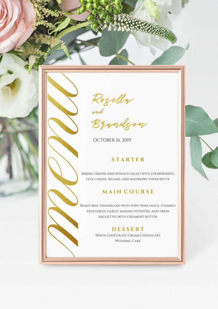 wedding menu template printable menu card 5x7 wedding menu