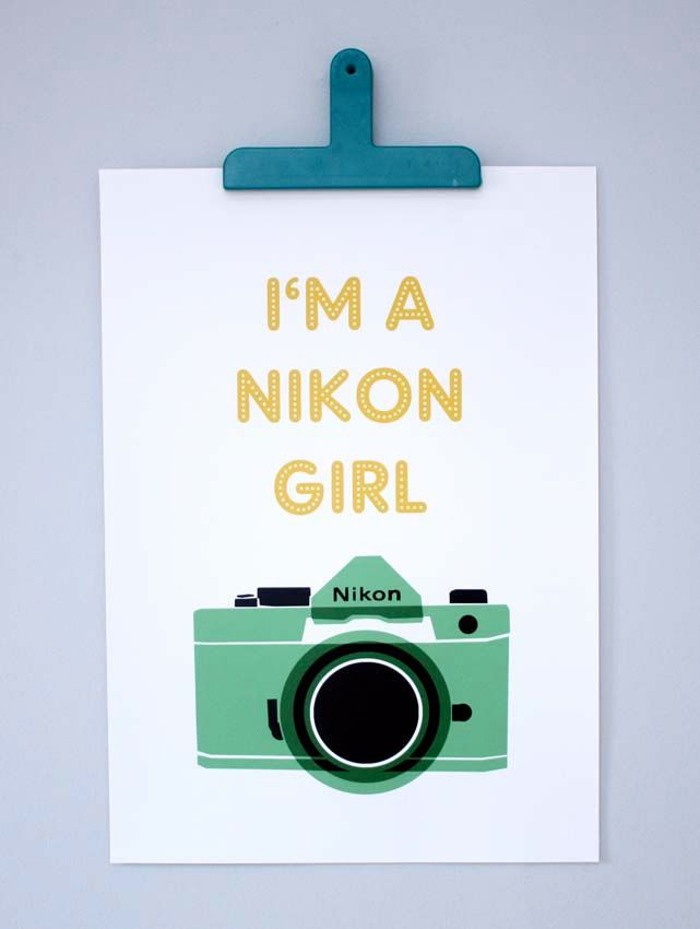I'm a Nikon Girl...yes, yes I am. via Etsy
