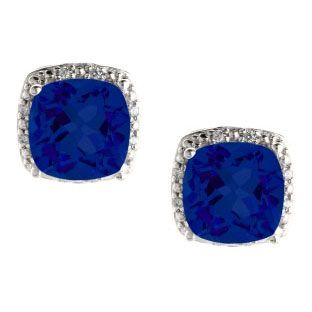 Cushion Cut Blue Sapphire September Gemstone White Gold Diamond Earrings Available Exclusively at Gemologica.com