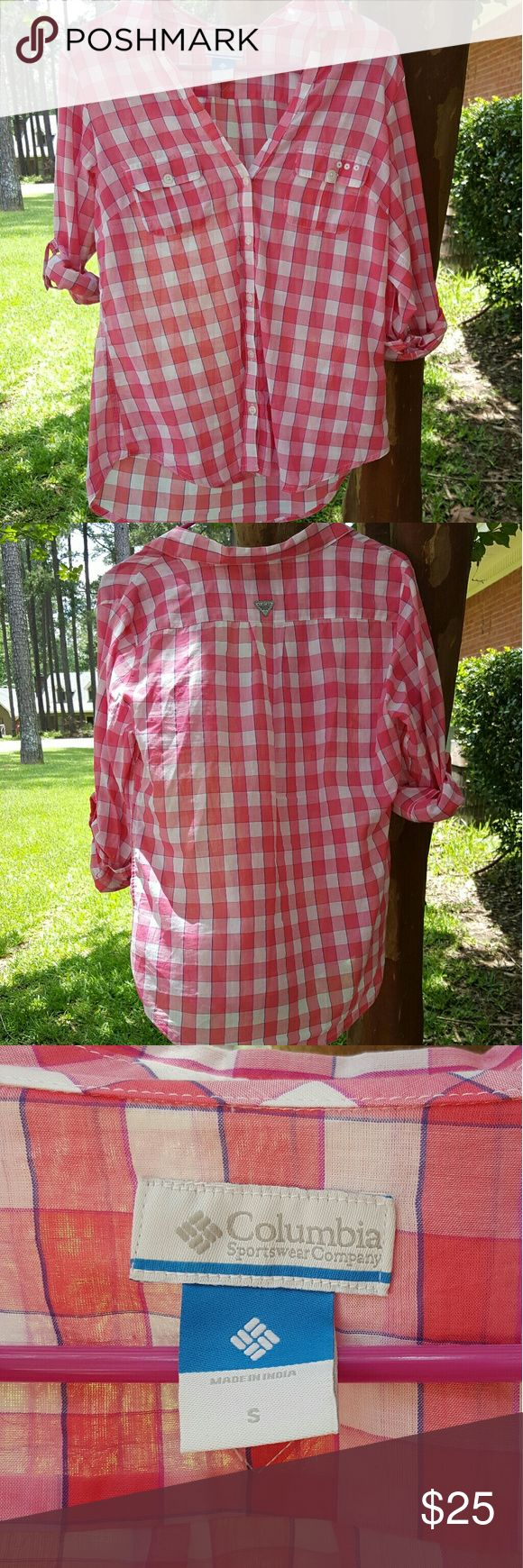 Columbia fishing shirt PFG Red and White Columbia fishing shirt, EUC, only worn once! Columbia Tops Button Down Shirts