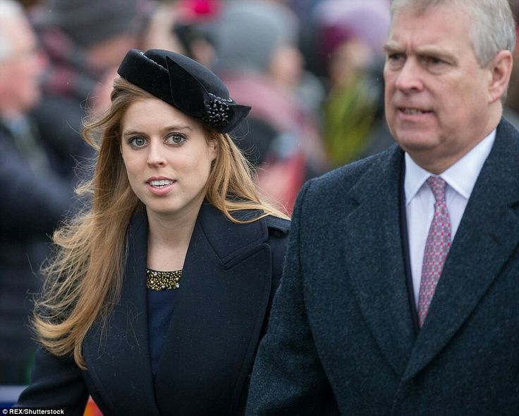 Princess Beatrice & The Duke Of York At Sunday Service At St. Mary Magdalene At Sandringham In King's Lynn. December 27,  2015.