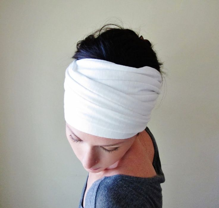 WHITE Head Wrap, Extra Wide Head Scarf, Jersey Yoga Headband, Jersey Head Scarf, Turban Headbands for Women, Yoga Head Wrap, Boho Head Wrap