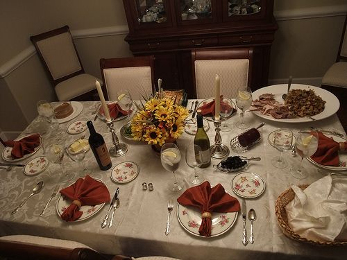Thanksgiving Dinner Table Set Table Setting Pinterest