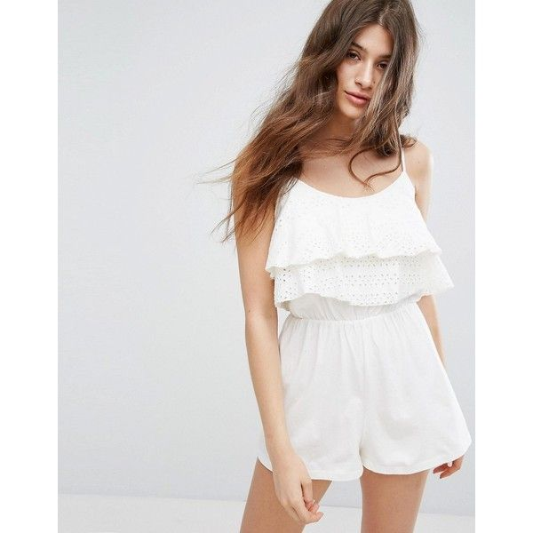 Bershka Crochet Cami Top Playsuit (£22) ❤ liked on Polyvore featuring jumpsuits, rompers, cream, white camisole, white cami, crochet cami, crochet camisole and white romper