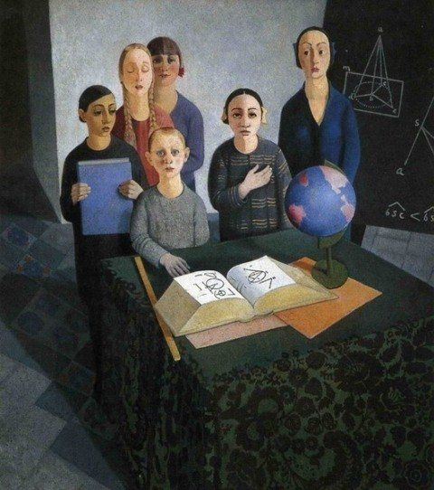 """untitled picture by Felice Casorati (1883-1963), Italian - His work is distinguished by unusual perspective effects. He drew inspiration from Renaissance masters. His early works were naturalistic in style, but after 1910 he was influenced by the visionary style of the Symbolists. His works of the 1920's typify the """"return to order"""" prevalent in the arts as a reaction to the war, in their emphasis on geometry and formal clarity - tempera (wiki)"""