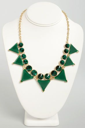 Tri Your Luck Green Statement Necklace - Lulu's
