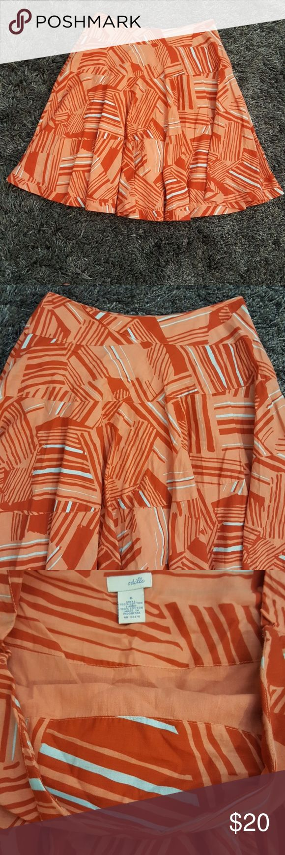 """Anthropologie Odille Orange Skirt - 6 This is a burnt orange and greyish abstract pattern skirt from Odille for Anthropologie. No stains or tears. Normal wear.  Approximately 23.5"""" long and 14.5"""" waist (no stretch). Zipper is functional. Fully lined.   Bundle & save. Anthropologie Skirts"""