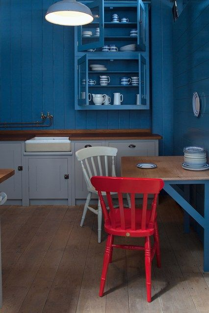 Red and White chairs. Blue & Grey Kitchen by British Standard - Kitchen Design Ideas (houseandgarden.co.uk)
