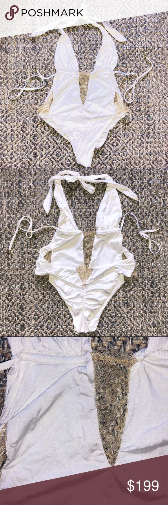 One of a Kind Beach Bunny Swimwear one piece Brand new, never worn Beach Bunny Swimwear one piece swimsuit. Only one made in this color. White with beautiful shimmering gold lace at hips, front and back. Shirred back with gold nameplate. Adjustable tie at bust and neck. Wear high or low on the hips, also looks great as a bodysuit! No tags as this suit was never for sale. Can fit a medium as well.  Box 5 Beach Bunny Swim One Pieces