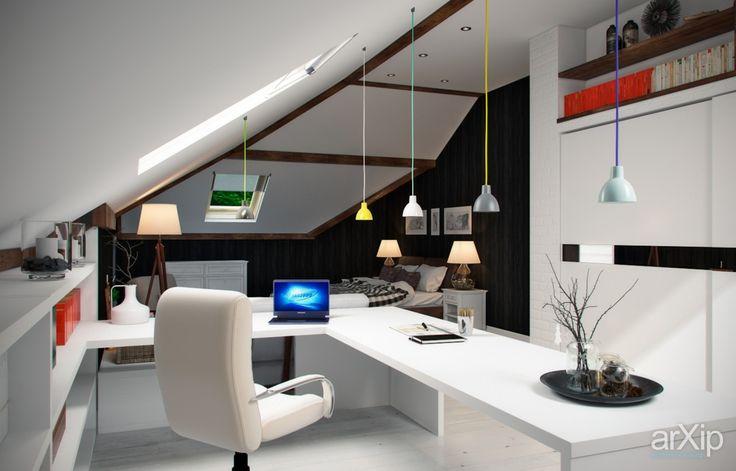 Жилая комната в мансарде: интерьер, квартира, дом, спальня, минимализм, 30 - 50 м2 #interiordesign #apartment #house #bedroom #dormitory #bedchamber #dorm #roost #minimalism #30_50m2