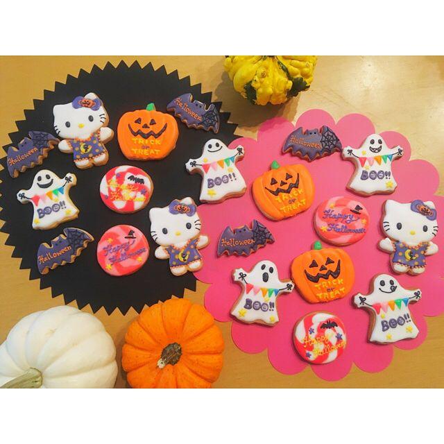 . . Happy🎃Halloween . 今日はハロウィンパーティーしたよ👻⭐︎ . . ハロウィンアイシングクッキー🍪✨ . . #halloween #party #halloweenparty #icingcookies #icingcookie #icing #cookie #kitty #hellowkitty #ハロウィンパーティー #ハロウィン #パーティー #アイシング #アイシングクッキー #キティー #ハローキティ #スイーツ #おうちおやつ