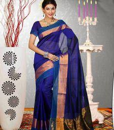 Buy Blue Printed cotton_silk saree with blouse banarasi-saree online