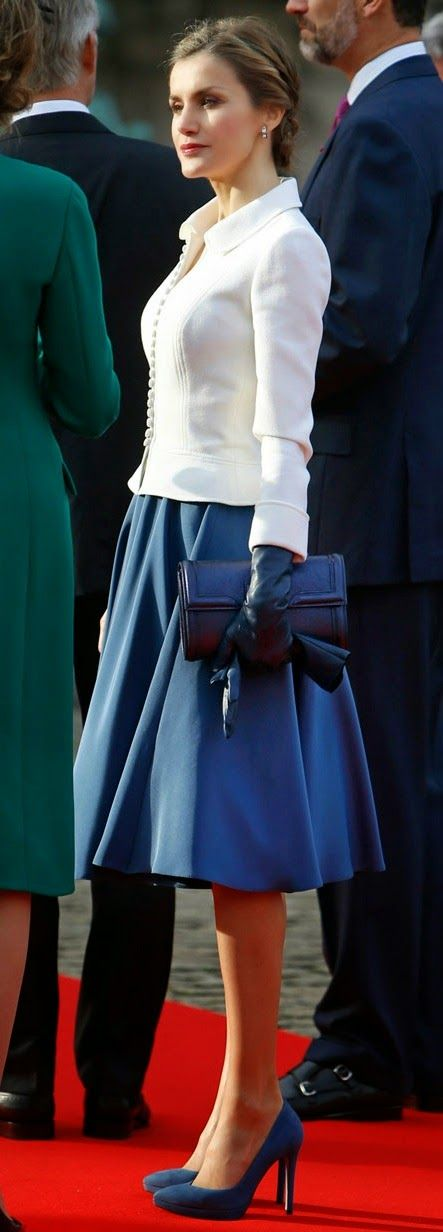 Queen Letizia. #Modest doesn't mean frumpy. #DressingWithDignity www.ColleenHammond.com/blog