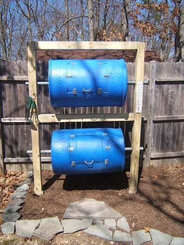 DIY--A compost bin is a necessary companion to My new garden.  The darker the barrels, the warmer they get, which is what you want with composting.