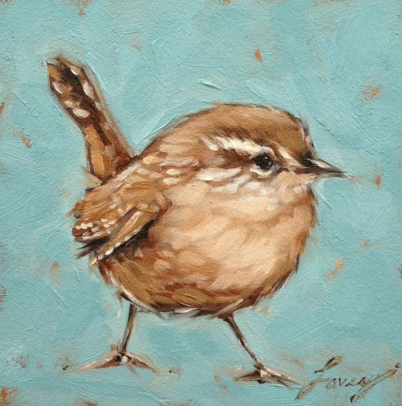 Wren painting  5x5 oil painting of a sweet little Wren on archival cradled Gessobord panel. Panel is 7/8 deep and can be hung flush to the wall. No framing needed