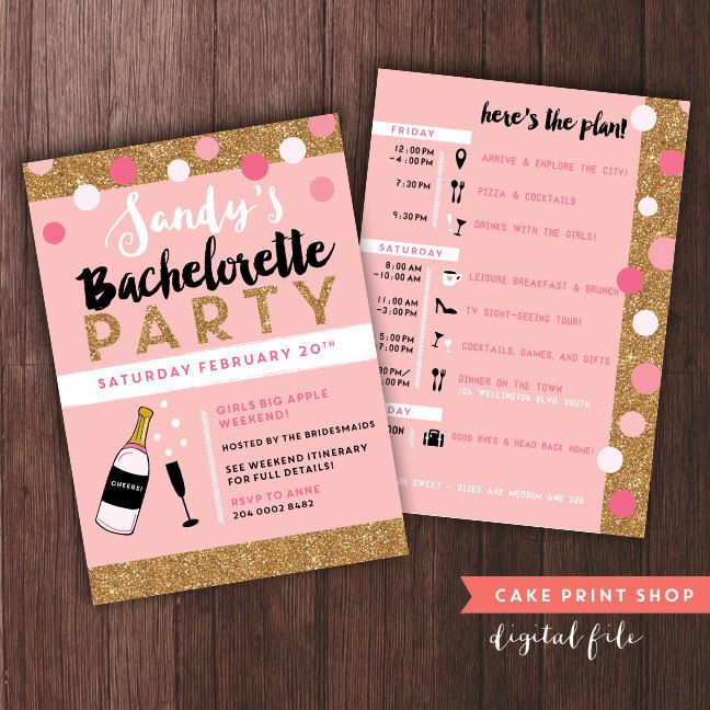$12 use with zazzle Bachelorette Weekend invitation with itinerary, bachelorette itinerary, PRINTABLE bachelorette invites, gold hen party invite with itinerary by CakePrintShop on Etsy https://www.etsy.com/listing/254043358/bachelorette-weekend-invitation-with