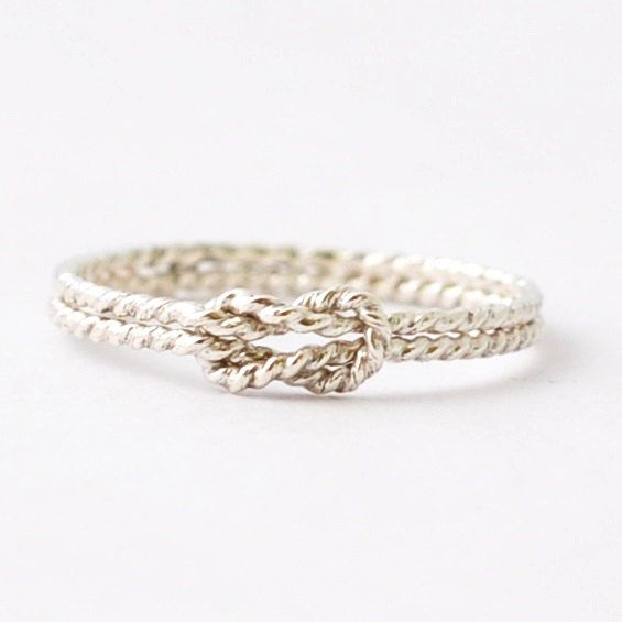 {O F F E R I N G} One knot promise nautical ring made with two intertwined 1mm rings. Since this ring is handmade, sometimes there will be small hammer or file marks. {M A T E R I A L S} Sterling Silver.   {S I Z I N G} This ring is available in sizes 2-12 in whole, half and quarter sizes. If you would like a quarter size (including them in the drop down makes it very long), just leave a comment in the Note To Seller box.    {M A D E T O O R D E R} This ring is made to order and current wait…