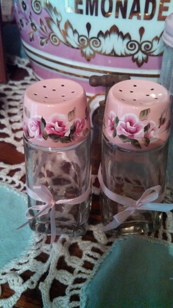 Check out this item in my Etsy shop https://www.etsy.com/listing/526992110/hand-painted-pink-roses-salt-pepper-set