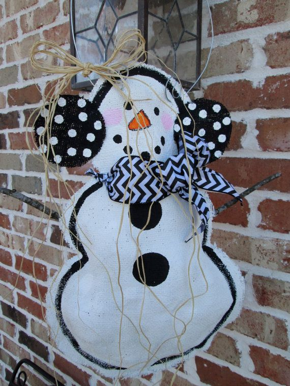 Full Body Snowman Burlap Door Hanger Door by nursejeanneg on Etsy, $28.00