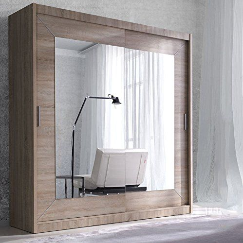 Modern Bedroom Wardrobe Sliding Door Alfa Oak Sonoma 200cm sold by Arthauss