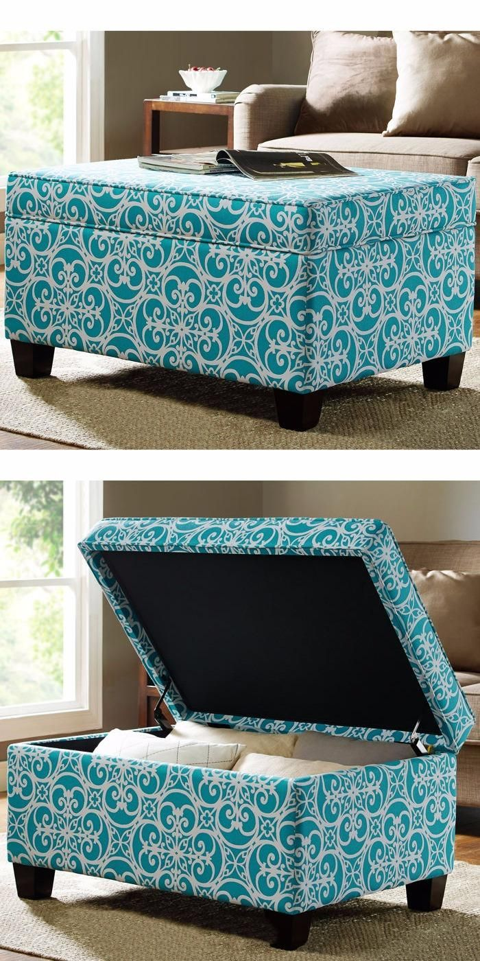 On trend, elegant, and fun, the Abigail Storage Ottoman brings fashion, color and functional storage to any space. The cheerful Cornflower Blue and White geometrical filigree weave pattern is reminiscent of classic open-work iron design finished with handsomely tailored piping.