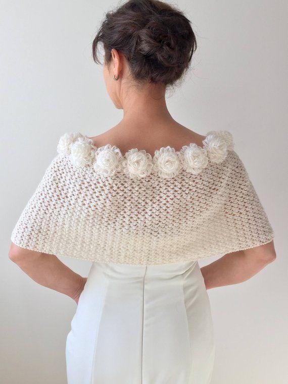 Mohair wedding shawl bridal capelet wedding cape ivory | Etsy | örgü ...