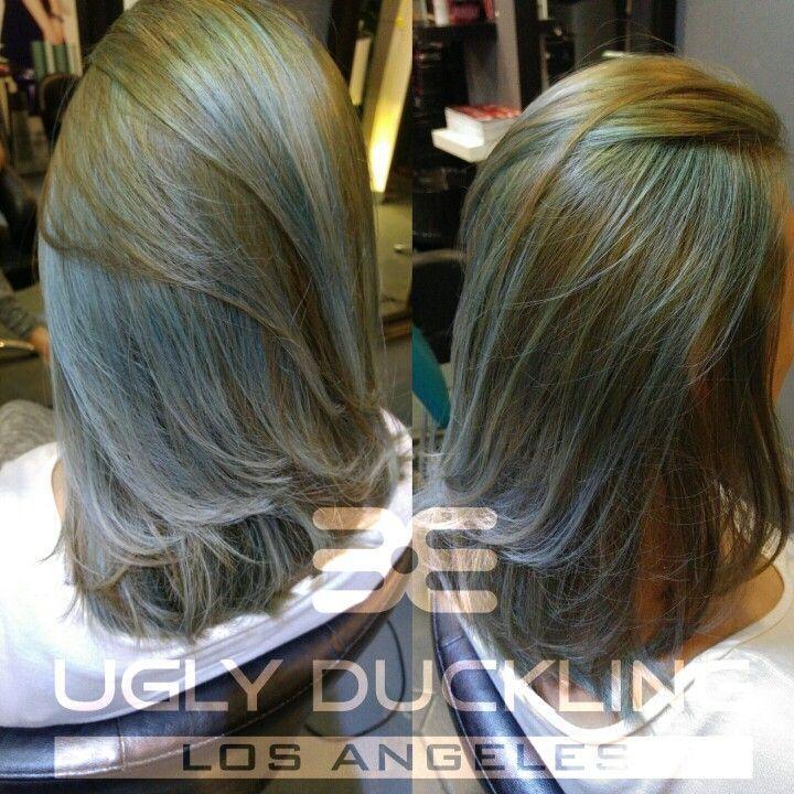 Ash Blue Green Ash On Asian Hair Hairstyling Sgsalon Salonforhair H4ufme Hairb Hair Color Asian Ash Green Hair Green Hair Colors