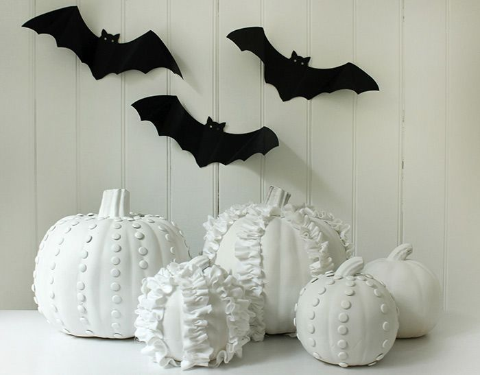 shabby chic white pumpkins via kate landers halloween pumpkin decoration layla grayce