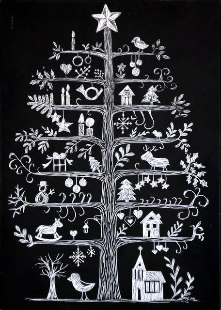 Scandinavian Christmas Tree Scratchboard